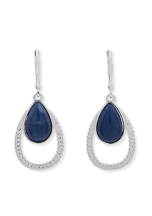 Nine West Denim Dream Silver-Tone Orbital Drop Earrings