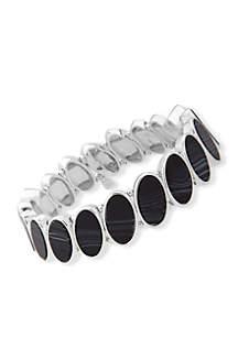 Oval Opulence Silver-Tone Stretch Bracelet