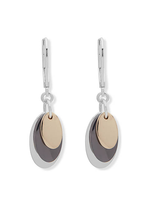 Oval Opulence Silver-Tone Shaky Drop Earrings