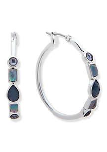 Silver-Tone and Blue Stone Hoop Earrings
