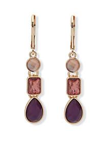 Linear Gold-Tone Metal Berry Earrings