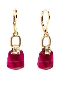 Double Drop Gold/Berry Earrings