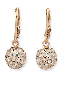 Gold-Tone Crystal Drop Ball Earrings