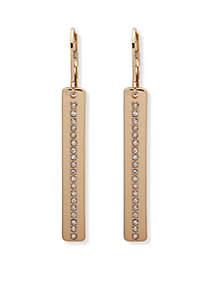 Gold-Tone Crystal Linear Earrings