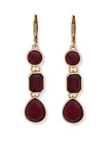Gold-Tone Linear Stone Earrings
