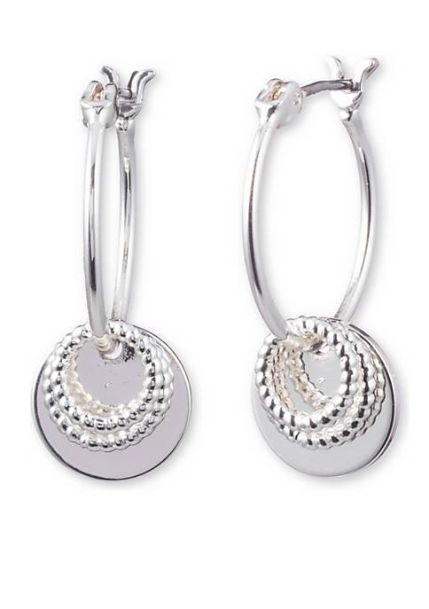 Silver-Tone Disc Drop Earrings