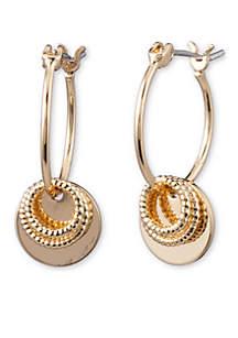 Gold-Tone Hoop Disc Drop Earrings