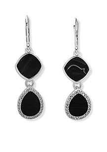 Silver-Tone Double Drop Crystal Earrings