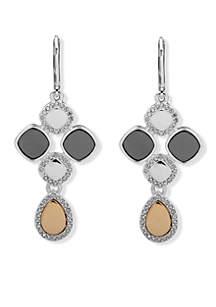 Tri-Tone Chandelier Crystal Earrings