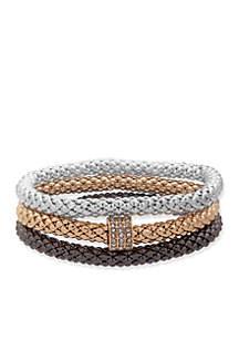 c8443f8871240 ... Nine West Set of 3 Tri Tone Crystal Stretch Boxed Bracelets