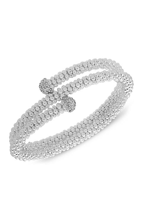 Nine West Silver-Tone Crystal Coil Stretch Boxed Bracelet