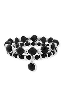 Silver-Tone Stone Stretch Bracelet