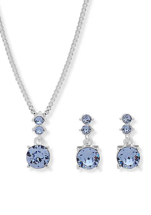 Silver-Tone Blue Boxed Necklace Set