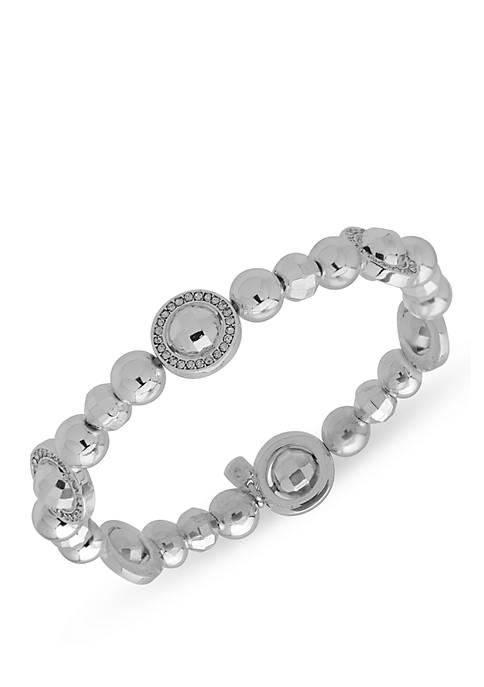 Silver-Tone and Crystal Stretch Bracelet