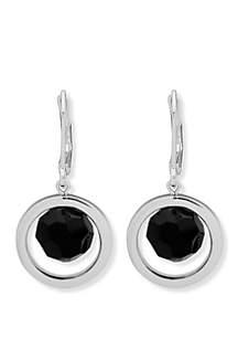 Silver-Tone and Jet Orbital Drop Earrings
