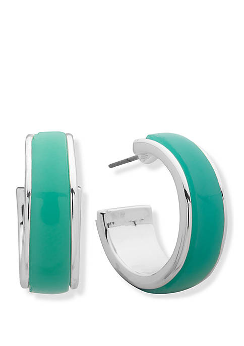 Silver Tone and Turquoise C Hoop Earrings