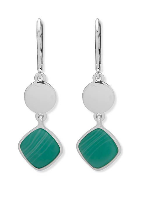 Silver Tone Double Drop Turquoise Earrings