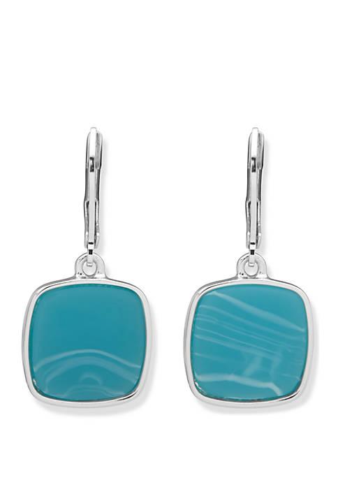 Silver Tone Square Drop Earrings