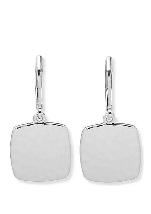 Silver Tone Hammered Square Drop Earrings