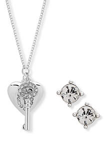 Crystal Hear Key Pendant Box Necklace and Earring Set