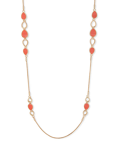 Long Gold Tone and Coral Teardrop Stationed Necklace