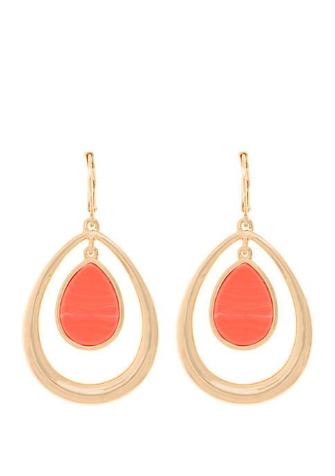 Orbital Gold Tone Coral Drop Earrings