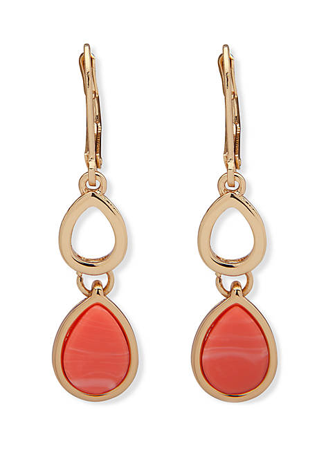 Gold Tone and Coral Teardrop Double Drop Earrings