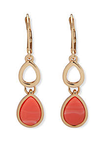 Nine West Gold Tone and Coral Teardrop Double Drop Earrings