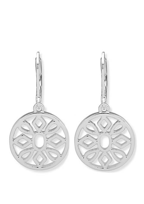 Silver Tone Open Work Flower Drop Earrings