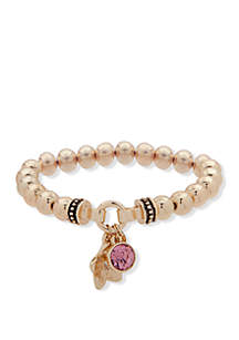 Nine West Boxed Gold Tone Bead Stretch with Pink Flower Charm Bracelet