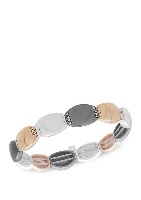 Boxed Tri Tone Crystal Stretch Bracelet