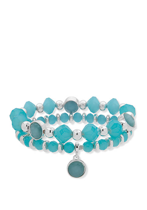 Nine West Boxed Silver Tone And Turquoise Double