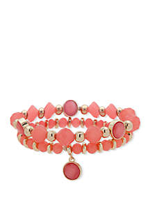 Nine West Boxed Gold Toen And Coral Double Row Stretch Bracelet