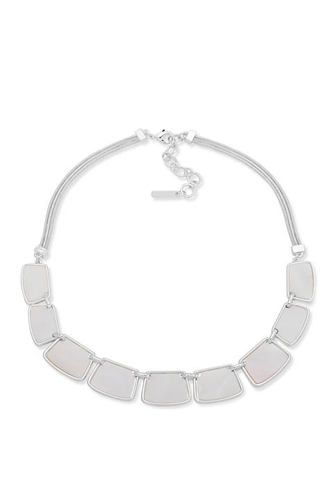 Silver Tone and White Frontal Necklace
