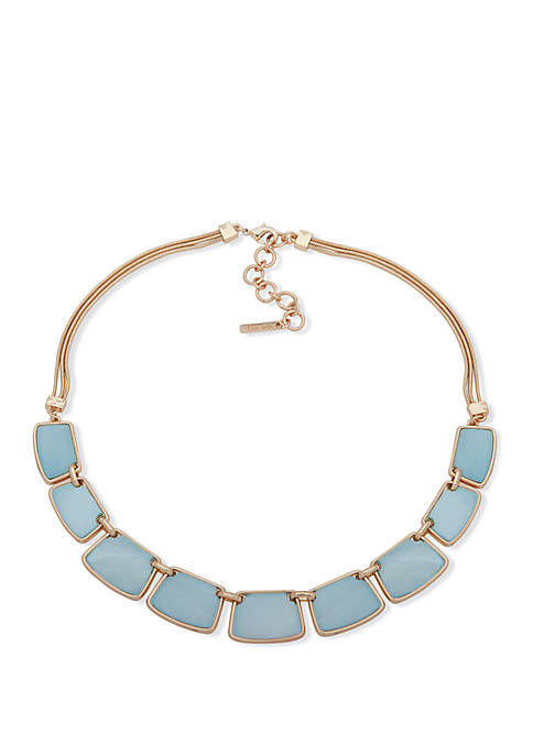 Gold Tone and Blue Frontal Necklace