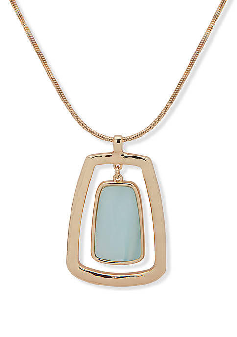 Gold Tone and Blue 36 in Adjustable Pendant Necklace