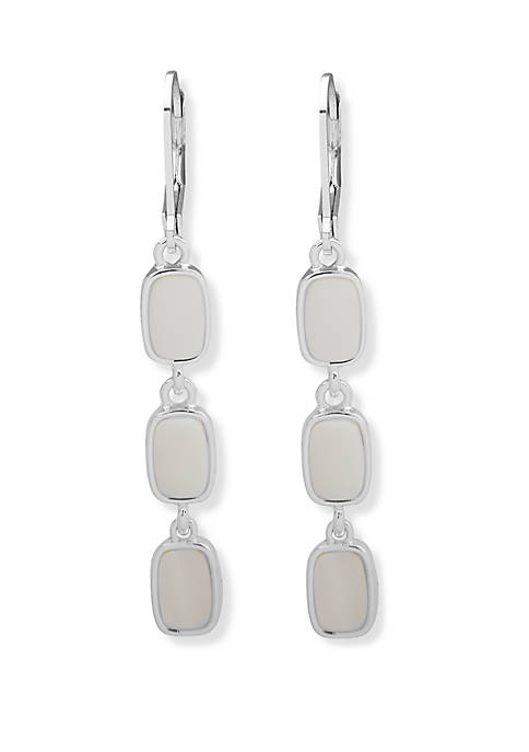 Nine West Silver Tone and White Linear Leverback