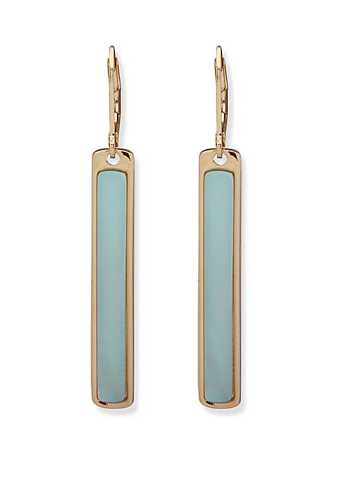Gold Tone and Blue Stick Linear Drop Earrings
