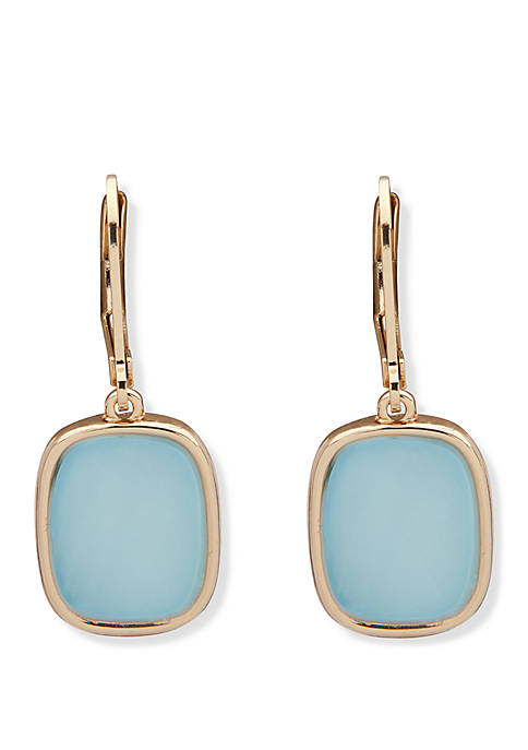 Gold Tone and Blue Lever Back Drop Earrings