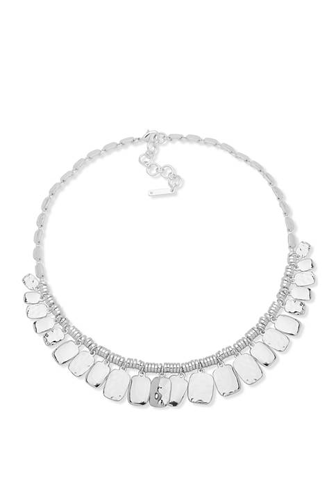 Polished Silver Tone Shaky Frontal Necklace