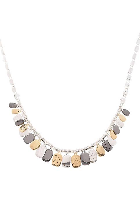Polished Tri Tone Shaky Frontal Necklace
