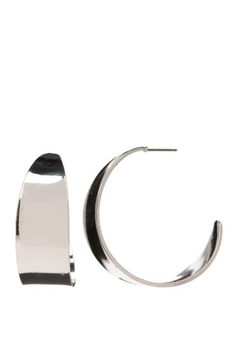 Wide Post Hoop Earrings
