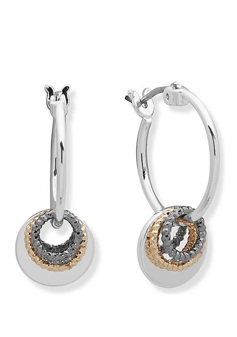 Tri Tone Shaky Drop Off Click Top Hoop Earrings