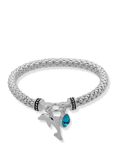 Nine West Boxed Silver Tone and Turquoise Dolphin