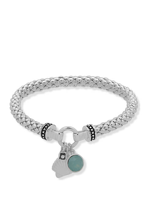 Boxed Silver Tone and Green Shell Stretch Bracelet