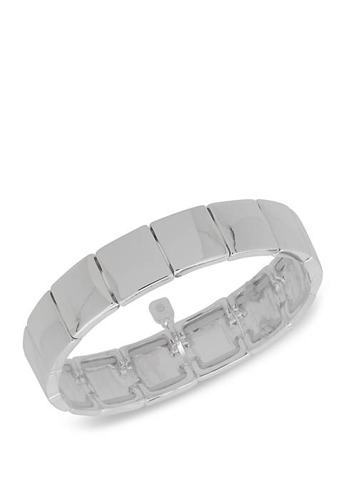 Nine West Boxed SIlver Tone Square Stretch Bracelet