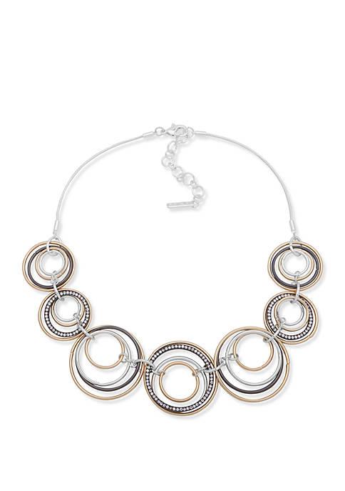 Nine West Tri Tone Frontal Necklace