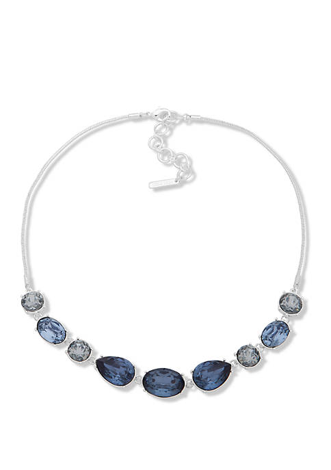 Nine West Silver Tone Blue Frontal Necklace