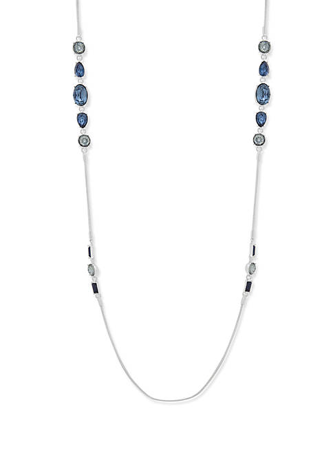 Silver Tone Blue 42 Inch Strand Necklace