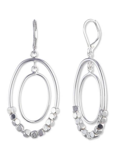 Nine West Silver Tone Beaded Orbital Drop Earrings